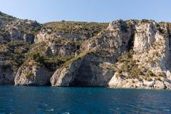 A view of the Amalfi Coast between Sorrento and Positano. Campania. Italy stock photo