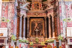 The Duomo, cathedral of Amalfi, campania, Italy. A view in AMALFI, ITALY  MAY 11, 2014 : Interiors and details of the Duomo, cathedral of Amalfi, built year 1208 royalty free stock images