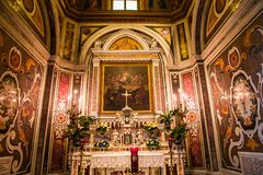 The Duomo, cathedral of Amalfi, campania, Italy. A view in AMALFI, ITALY  MAY 11, 2014 : Interiors and details of the Duomo, cathedral of Amalfi, built year 1208 royalty free stock photo