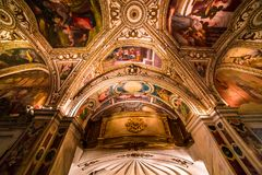 The Duomo, cathedral of Amalfi, campania, Italy. A view in AMALFI, ITALY  MAY 11, 2014 : Interiors and details of the Duomo, cathedral of Amalfi, built year 1208 royalty free stock photos