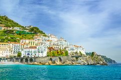 View of Amalfi town on Amalfi coast, Campania, Italy Royalty Free Stock Images