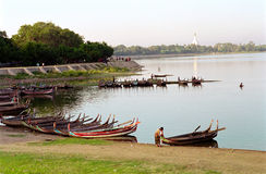 View from Amarapura bridge, Myanmar royalty free stock image