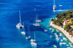 View at amazing archipelago with boats in front of town Hvar, Croatia. Harbor of old Adriatic island town Hvar. Popular touristic. Destination of Croatia stock image