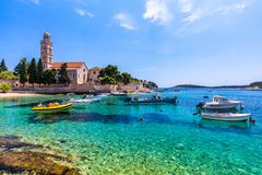 View at amazing archipelago with boats in front of town Hvar, Croatia. Harbor of old Adriatic island town Hvar. Popular touristic. Destination of Croatia stock photo
