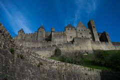 View of the amazing Carcassonne Castle royalty free stock photo