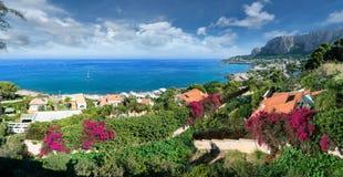 View of the gulf of Mondello and Monte Pellegrino, Palermo, Sicily island, Italy stock image