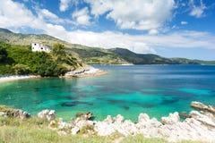 View on amazing Ionian sea from Corfu island, Greece. Stunning sea in kassiopi on greek island corfu Stock Photos