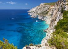 View on amazing island rock mountains bay in Ionian Sea clear blue water and Blue Caves. Green rocks in blue sea landscape. Greece Royalty Free Stock Images