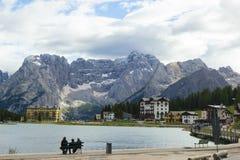 View of amazing Misurina lake in Italy Stock Photo