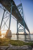 View of Ambassador Bridge connecting Windsor, Ontario to Detroit. Michigan at sunset time from the canadian shore Royalty Free Stock Photo