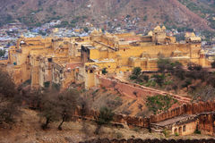 View of Amber Fort from Jaigarh Fort in Rajasthan, India Stock Images