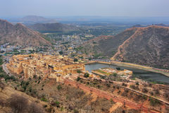 View of Amber Fort from Jaigarh Fort in Rajasthan, India Royalty Free Stock Photography