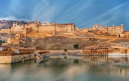 View of Amber fort, Jaipur, India. View of Amber fort over the lake, Jaipur, India Royalty Free Stock Images