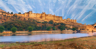 View of Amber fort, Jaipur, India. View of Amber fort over the lake, Jaipur, India Royalty Free Stock Photography