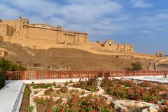 View of Amber fort and palace from Kesar Kyari Bagh garden on Maotha Lake. Rajasthan. India
