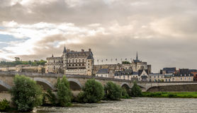 View of Amboise chateau with bridge Royalty Free Stock Image