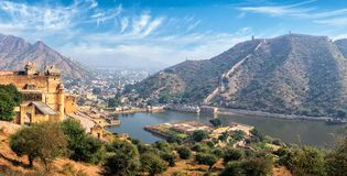 View of Amer (Amber) fort and Maota lake, Rajasthan, India. Indian travel famous tourist landmark - panorama view of Amer (Amber) fort and Maota lake, Rajasthan Royalty Free Stock Image