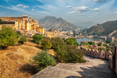 View of Amer (Amber) fort, Rajasthan, India. Indian travel famous tourist landmark - view of Amer (Amber) fort and Maota lake, Rajasthan, India Stock Images