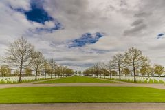 View of the American Cemetery Margraten in memory of soldiers killed in the war in South Limburg stock photography
