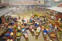 View of Amphawa Floating market, Amphawa, Thailand Royalty Free Stock Images