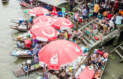 View of Amphawa Floating market, Amphawa, Thailand Royalty Free Stock Photography