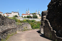 View of amphitheater with Fourviere basilica Lyon France. View of amphitheater with Fourviere basilica. Horizontal composition Stock Photos