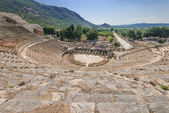 View of Amphitheater  and marble road in Ephesus Royalty Free Stock Images
