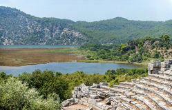 View of amphitheater ruins in Kaunos ancient city (Turkey) Stock Photography