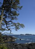 Broken Group Islands Barkley Sound. View from Amphitrite Point towards the Barkley Sound and the archipelago of the Broken Group Islands, Ucluelet Vancouver royalty free stock photos