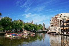 View on Amstel river in amsterdam. Stock Images