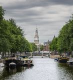 View of Amsterdam canal Stock Photography
