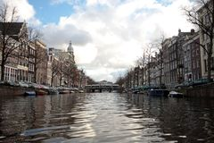 View through Amsterdam citycenter in the Netherlan Royalty Free Stock Image
