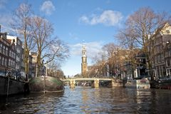 View at Amsterdam innercity with the Westerkerk i Stock Images