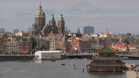 View of Amsterdam. Center waterfront at Oosterdock stock footage