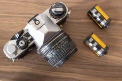 View of analog film camera stock image