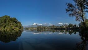 View of anAnapurna range (himalaya) from the city of Pokhara Nepal-Asia Stock Photo