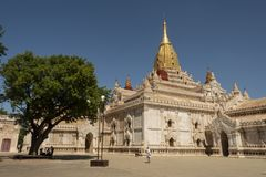View of the Ananda Temple, Bagan. Panoramic View of the archaeological park of the ancient temples and pagodas of Bagan. Myanmar royalty free stock image