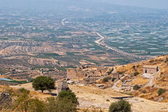 View ancient Acrocorinth. Royalty Free Stock Photo