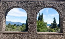 The view from the ancient arches on Lake Garda Stock Image
