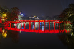 View of the ancient bridge Rising sun at night. Hoan Kiem lake in Hanoi, Vietnam Stock Image