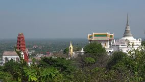 Buddhist temples on top of the hill Phra Nakhon Khiri. Phetchaburi, Thailand. View of the ancient Buddhist temples on top of the hill Phra Nakhon Khiri stock footage