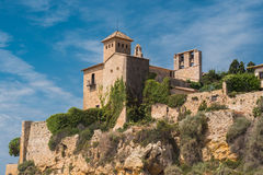 A view of the ancient castle from the beach Tamarit. A view of the ancient castle from the beach Stock Photos