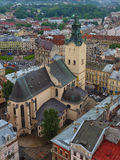 View of the ancient cathedral in the city. View from above Stock Photos