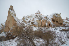 View of ancient cave Christian church in the winter mountains of Cappadocia Stock Images