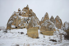 View of the ancient cave city january day. The surrounding area of Goreme, Turkey Stock Image