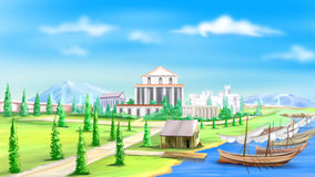 View of the Ancient City. Digital painting of the Ancient City by the river Vector Illustration