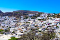 View of the ancient city of Lindos stock photography
