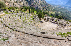 View of ancient Delphi theater and Apollo temple, Greece Stock Image