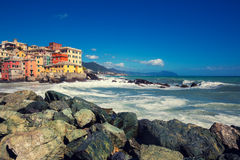 View of a ancient fishing village Boccadesse Stock Images