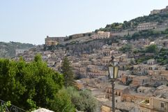 View of an Ancient Foreshortening of Modica, the City of Chocolate, Ragusa, Sicily, Italy, Europe. View of an Ancient Foreshortening of Modica, the City of Royalty Free Stock Images